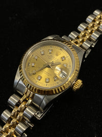 ROLEX Ladies' Oyster Perpetual Datejust Two-Tone 18KYG & SS Gold Dial w/ Diamonds! - $15K Appraisal Value! ✓