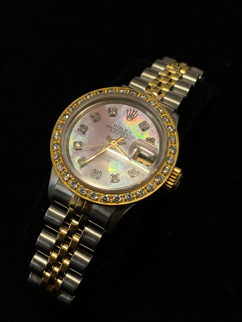 ROLEX Custom Ladies' Oyster Perpetual Datejust Two-Tone 18KYG & SS w/ 42 Diamonds & Pink MoP Dial! - $15K Appraisal Value! ✓