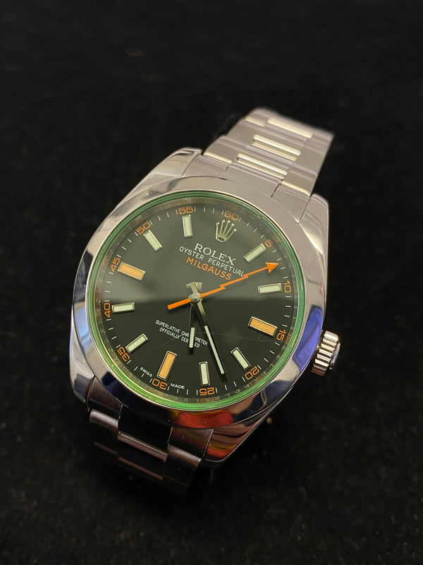 ROLEX Milgauss Oyster Perpetual w/ Green Crystal Ref. #116400 - $15K Appraisal Value! ✓