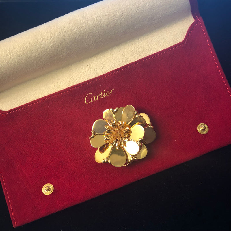 CARTIER Vintage 1960s  18K Yellow Gold Flower Brooch Pin - $30K VALUE!