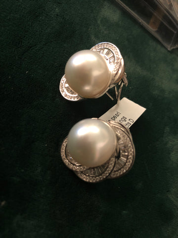 Custom Made Designer South Sea Pearl Earrings 166 diamonds 18K WG COA $40K Apr.