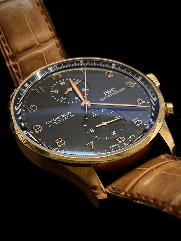 IWC 18K Yellow Gold Portuguese Automatic Chronograph w/ Date Feature - $23K Appraisal Value! ✓