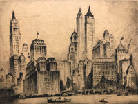 "Nat Lowell, ""Manhattan Towers,"" Drypoint Etching, c.1937 - Appraisal Value: $8K*"