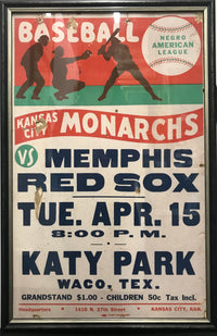 "Negro American League Broadside: ""Kansas City Monarchs vs Memphis Red Sox"", 1947 - APR: $4K Value*"