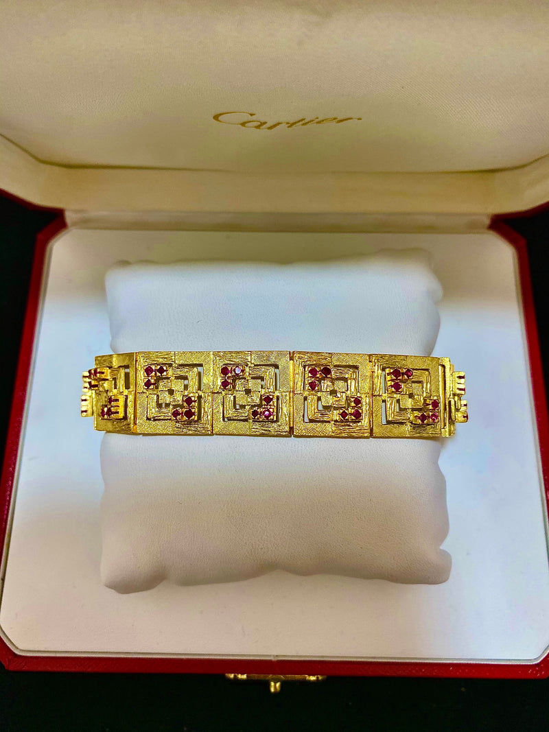 Lalaounis-style Textured 18K YG Bracelet with 72 Rubies! - $30 Appraisal Value w/ CoA }