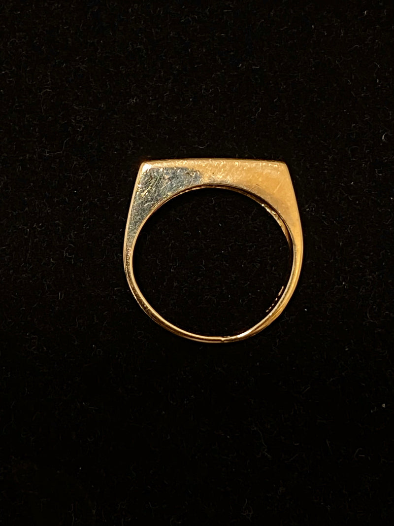 Unique Designer Solid Yellow Gold with Diamond crystal Signet Ring - $1.5K Appraisal Value w/ CoA }