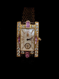 HARRY WINSTON Classic Diamond and Pink Topaz Gem 18K Rose Gold Avenue Ladies Wristwatch - $80K Appraisal Value! ✓