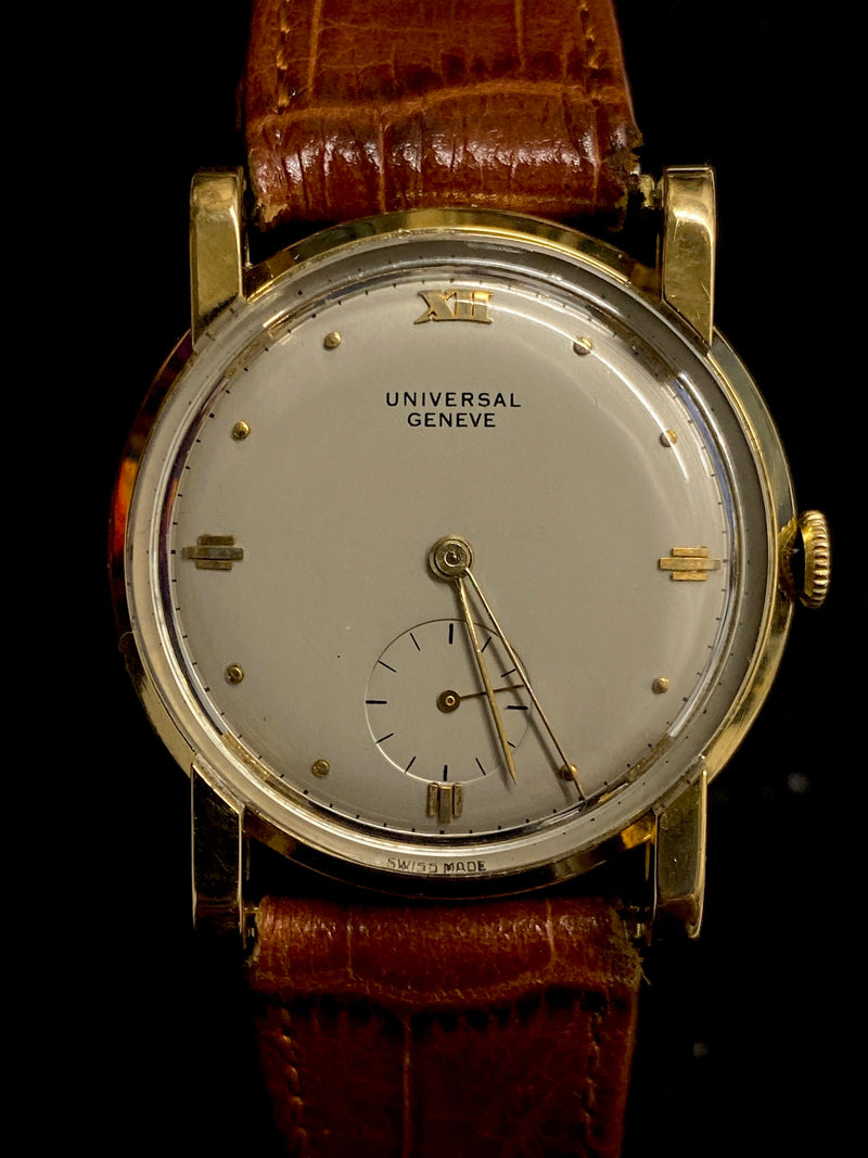 UNIVERSAL GENEVE Rare Vintage Circa 1940s 18K Rose Gold Wristwatch with Sub Dial - $20K Appraisal Value! ✓