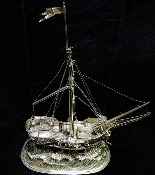 A German Silver Ship Inkstand Circa 1700s Intricate Detail w/ COA- $15K VALUE!
