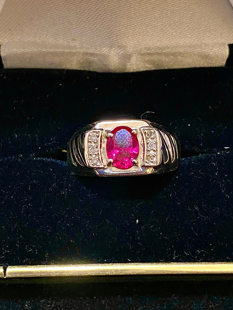 Unique Designer Solid White Gold with Red Topaz & Diamond Ring - $1.5K Appraisal Value w/ CoA }