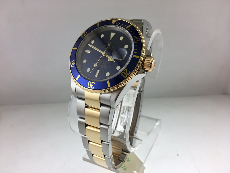ROLEX Submariner Two-Tone 18KYG & SS Oyster Date in Royal Blue! - $16K VALUE w/ CoA!