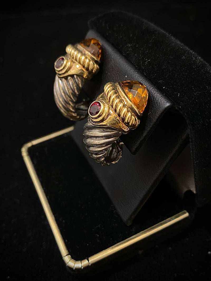 DAVID YURMAN Vintage Design Solid Yellow Gold & Sterling Silver with Citrine & Tourmaline Earrings - $8K Appraisal Value w/ CoA! }