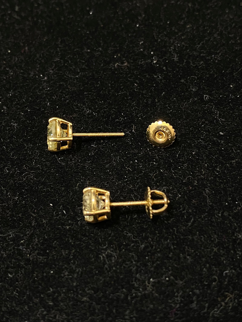 Unique Designer Solid Yellow Gold with 1.50 + Diamond Stud Earrings - $15K Appraisal Value w/ CoA! }
