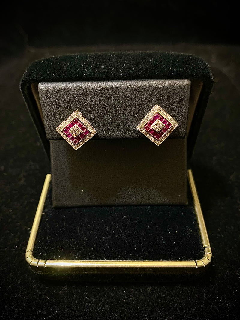 Cartier-style Unique Designer Solid White Gold with Diamond & Ruby Earrings - $10K Appraisal Value w/ CoA! }