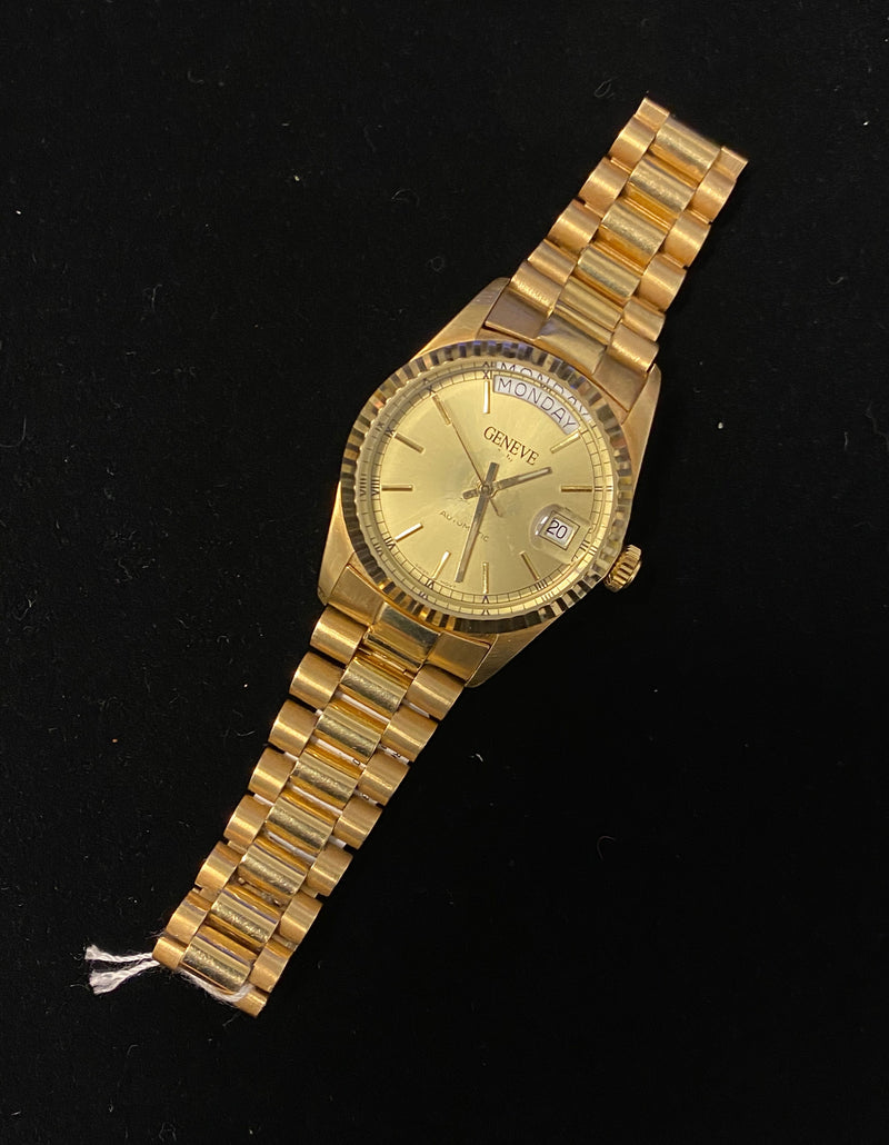 GENEVE 14K Yellow Gold Swiss Automatic w/ Day/Date Feature - Rolex Presidential Style! - $40K Appraisal Value!