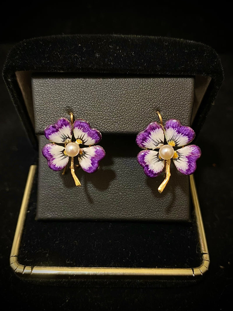 Unique Designer Solid Yellow Gold with Enamel Flower Wire Earrings - $8K Appraisal Value w/ CoA }