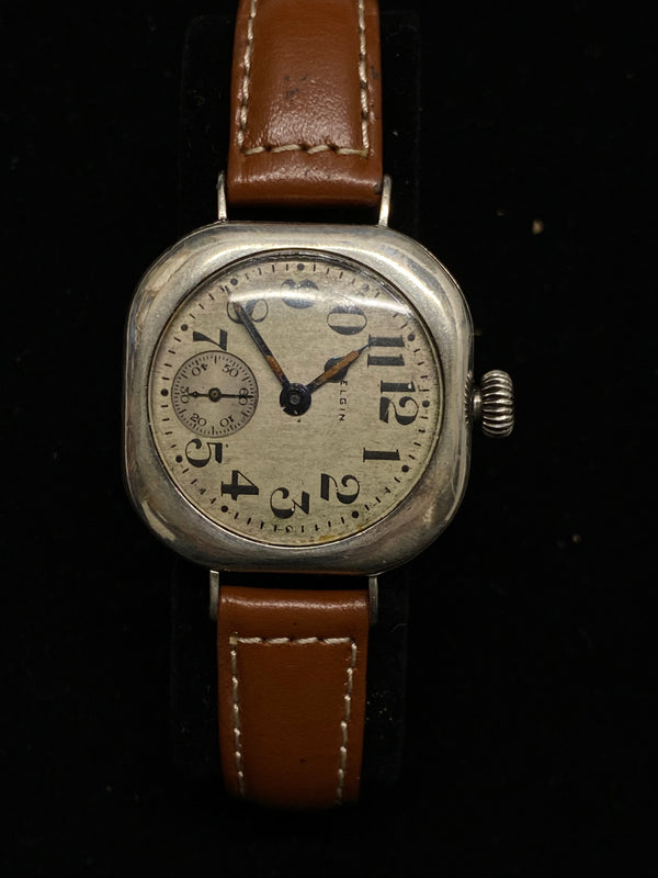 ELGIN Vintage 1920's Rare Rotated Stainless Steel Cushion Wristwatch - $6K Appraisal Value! ✓