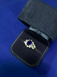 Art Deco style 1.50 Carat Sapphire & 22 Diamond Ring in Solid Yellow Gold Appraisal $10k Value! $