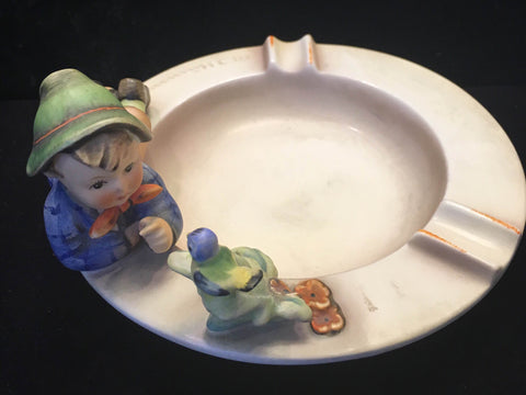 "1960's Goebel Hummel Collectible Signed Ashtray ""Little Boy with Bird""- $1.5K VALUE"