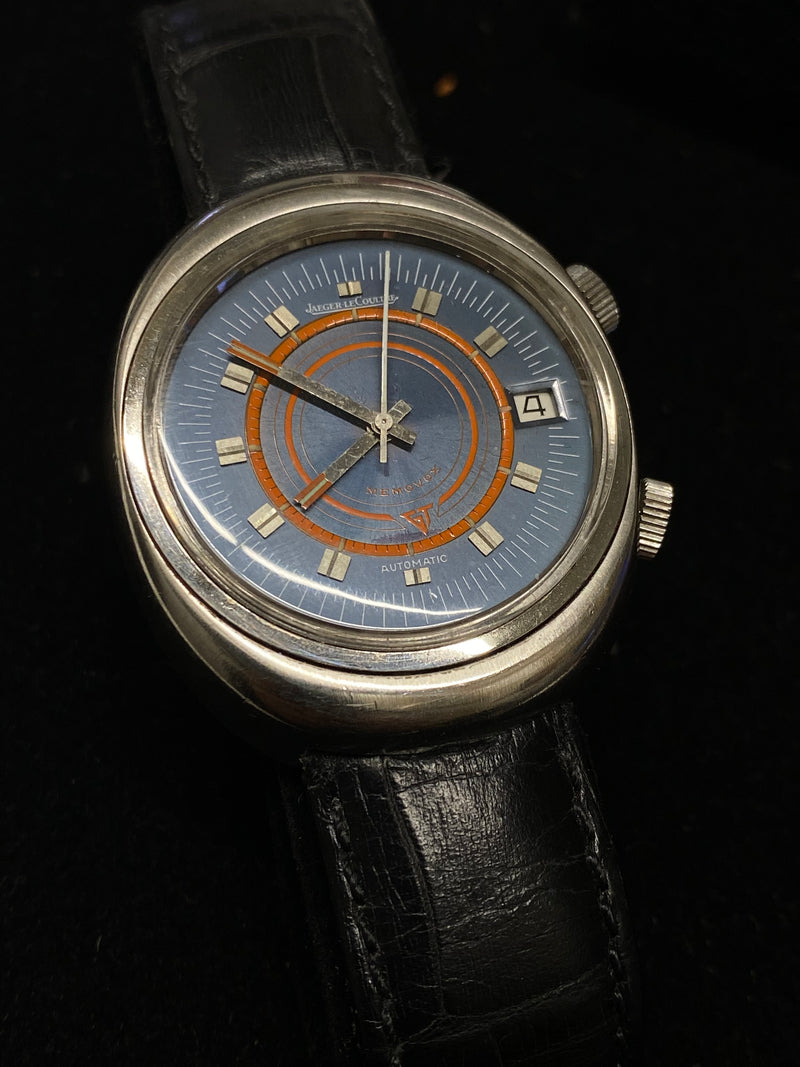 JAEGER LECOULTRE Vintage 1950's Alarm SS Automatic w/ Rare Blue Orange Dial - $15K Appraisal Value! ✓