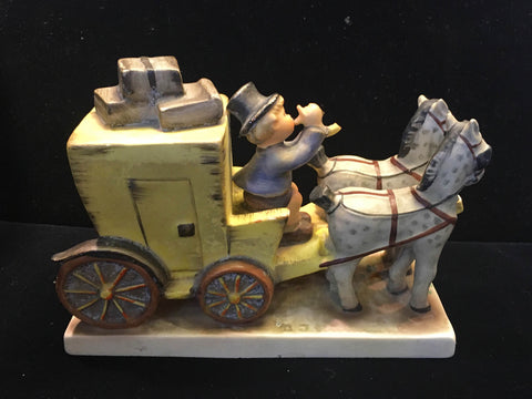 "1960's Goebel Hummel ""Mail Is Here"" Horses and Carriage Figurine - $1.5K VALUE"