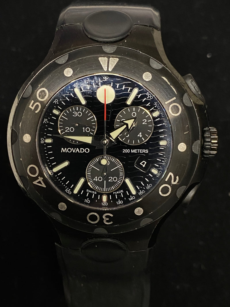 MOVADO 800 Series Black Chronograph - Incredibly Rare Men's Watch! - $6K Appraisal Value! ✓
