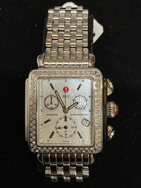 MICHELE Deco Chronograph in Stainless Steel w/ 98 Diamond Bezel! - $5K Appraisal Value! ✓