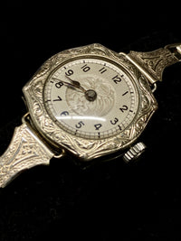RACINE Vintage C. 1920s White Gold Carved Jewelry Wristwatch - $6K Appraisal Value! ✓