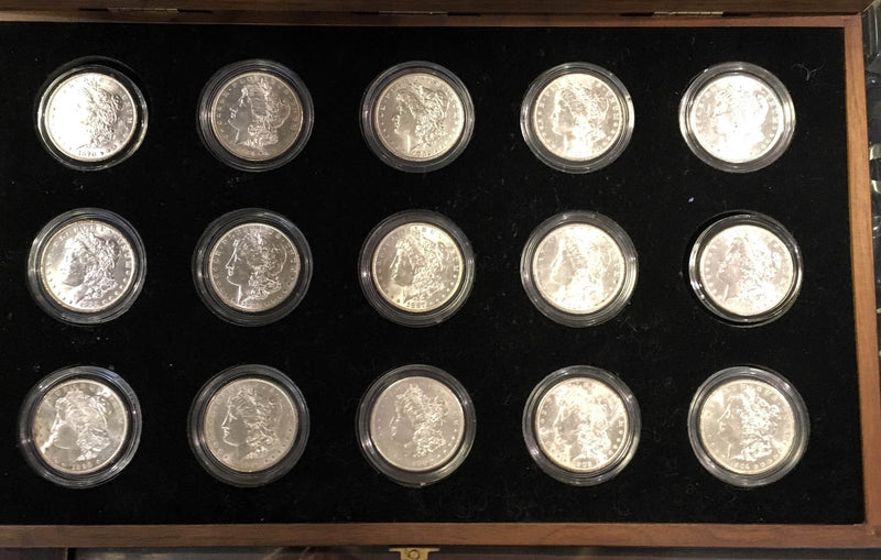1878-1904 U.S. Peace Silver Dollar Complete Collection The Silver Mint LTD Morgan 15 Coins $1.5K Appraisal Value! ✓