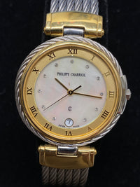 PHILIPPE CHARRIOL Two-Tone Stainless Steel & Yellow Gold w/ 12 Diamonds! - $7K Appraisal Value! ✓