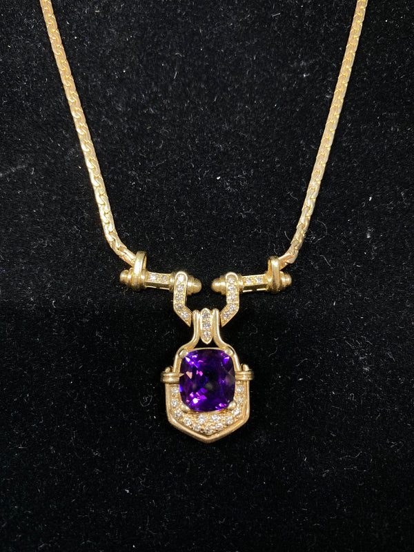 Contemporary 3.5 Carat Amethyst & Diamond Necklace in 14K Yellow Gold Appraisal $15K VALUE}