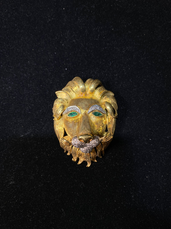 INCREDIBLE 18K YG Lion Head Designer Brooch/Pend Emeralds w/ 35 Diamonds - $30K VALUE