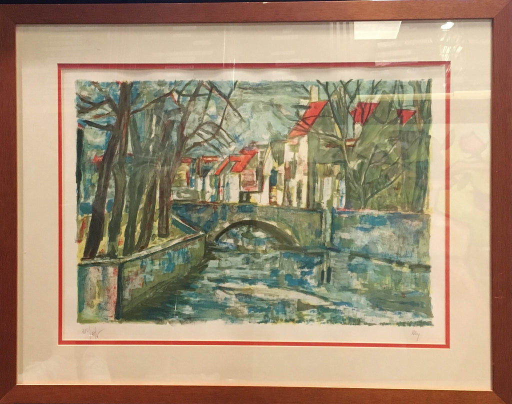 Vintage Street of Italy Print Bridge LTD ED Professionally Framed Original Signed - $2K VALUE