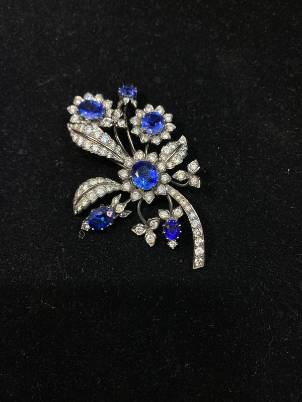 Victorian c1890's Rare Flower Brooch/Pin Sapphire/ Diamonds 18KWG w $100K COA!}