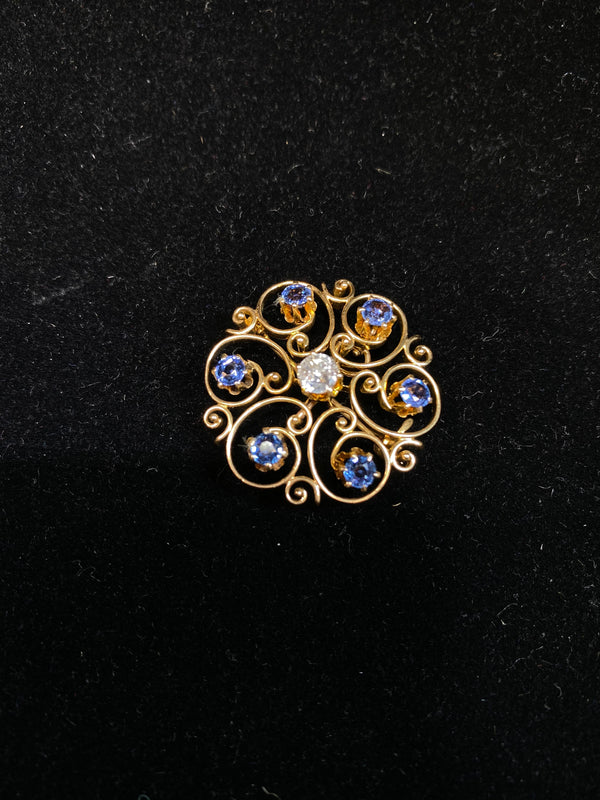 1900's Victorian Sapphires& Diamond Scroll Brooch/Pendant in YG with $15K COA!!}