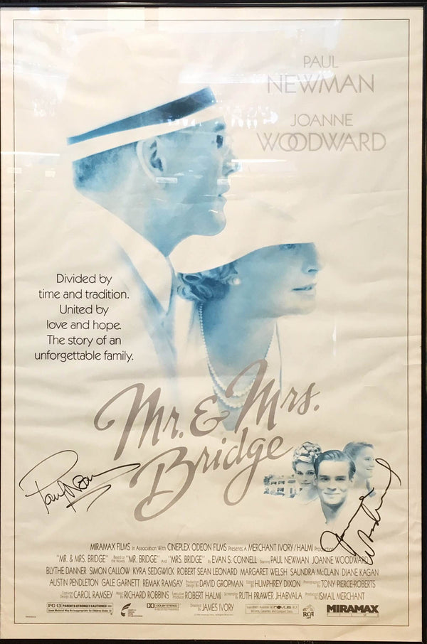 'Mr. & Mrs. Bridge' Monochrome Movie Poster Signed Framed by Paul Newman & Joanne Woodward, 1990's - $3K VALUE*