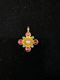 AMAZING Vintage 22K Yellow Gold, Pink Tourmaline, Peridot & Pearl Pendant - Similar to Bvlgari - $20K Appraisal Value! ✓