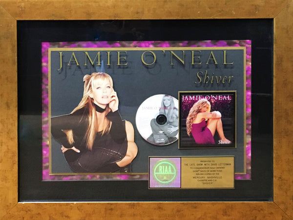JAMIE O'NEAL First Album Shiver RIAA Sales Gold Award Framed Collage CD-Disk Award Plate, C. 2000s - $6K VALUE