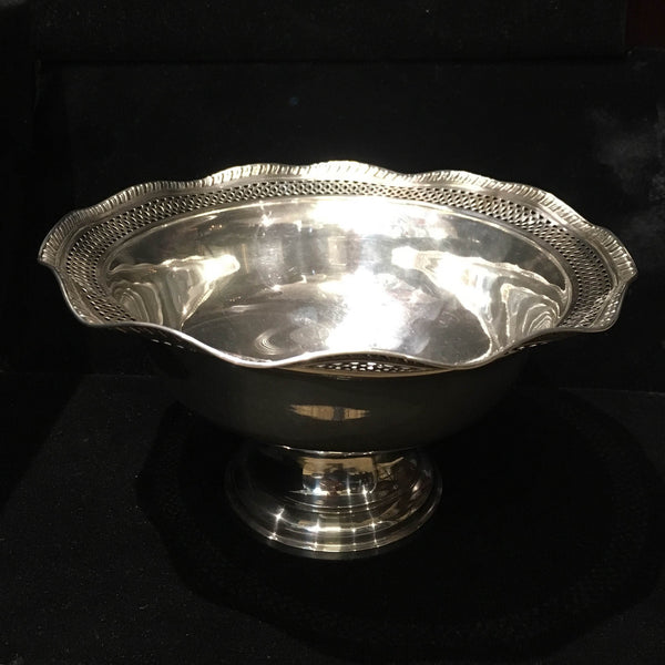 Antique 1930s Sterling Silver Compote Pierced Candy Dish Filigree Bowl Weighted - $3K VALUE*