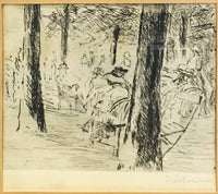 "Late 19th C. Max Liebermann ""The Park Scene"" Original Signed Etching Framed - $10K VALUE*"