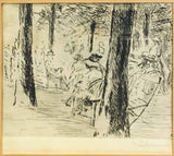 "Late 19th C. Max Liebermann ""The Park Scene"" Original Signed Etching Framed - $10K VALUE"