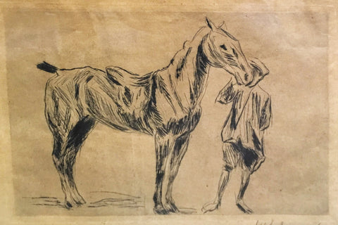 "Late 19th C. Max Liebermann ""The Boy with Horse"" Original Signed Etching Framed - $10K VALUE"
