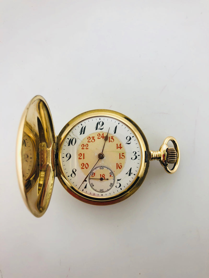 1920s Junghans Pocket Watch in Solid Gold w/hunter double case, $20 KVALUE, w/Cert!