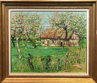 Jean Monneret, 'Country House', Original Oil Painting, 1972, France, Signed & Framed, w/COA - $10K Apr Value*