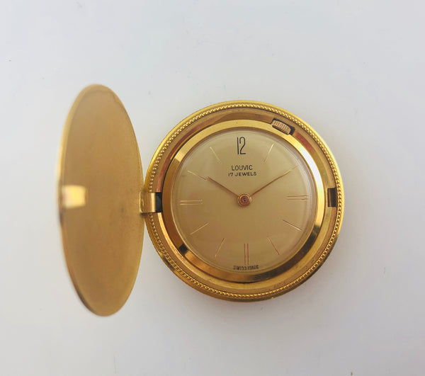 Vintage Louvic 17 Jewels Coin Pocket 18K YG Watch,  C. 1950's - $20K VALUE w/ COA!