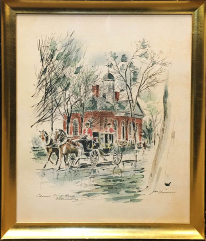 20th C. John Haymson Colonial Court House Williamsburg Lithograph Watercolor - $1K VALUE