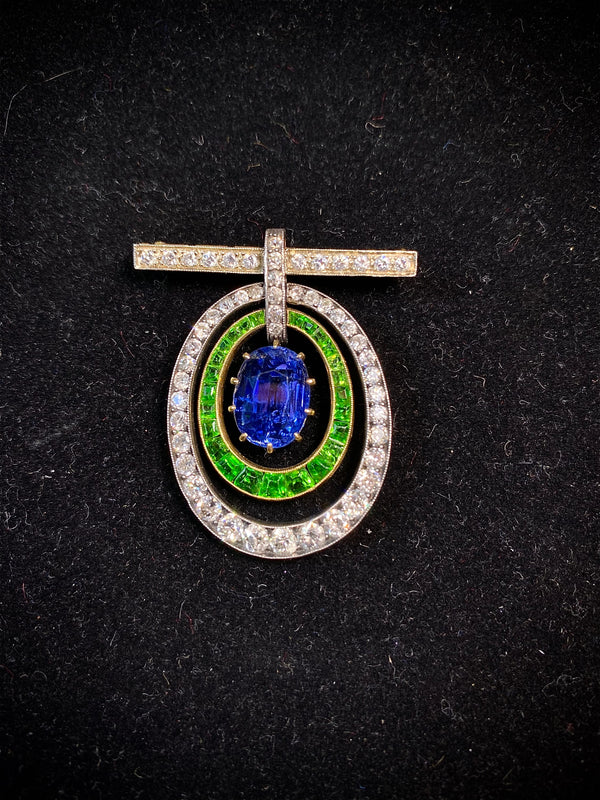 Antique 1920s Sapphire/Garnet/Diamond 15ct Brooch YG/Silver w $130K UGL Certifi}
