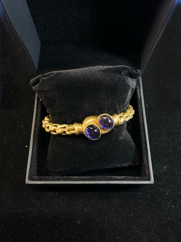 Vintage 1960's 18K Yellow Gold 6-Carat Amethyst Crossed Cross Cuff Bangle Bracelet - $13K VALUE