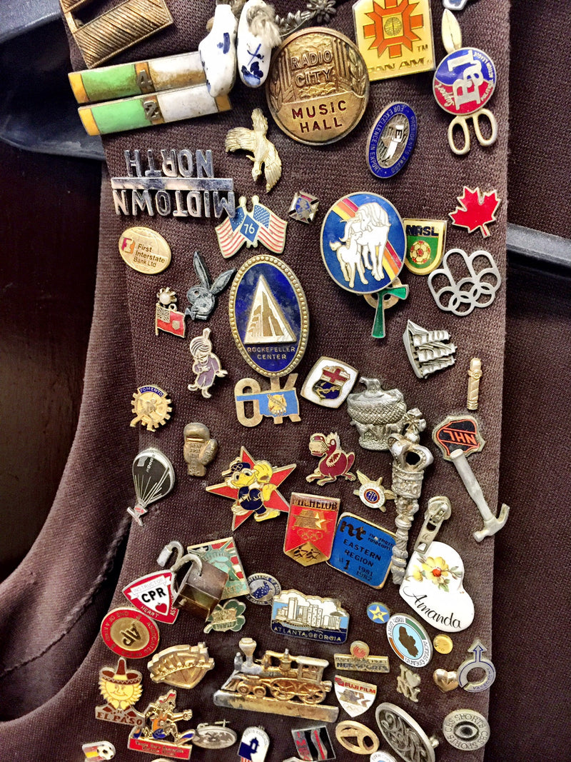 Vintage Pin Collection & Bartender's Vest from One of NYC's Oldest Bars, Bar Memorabilia & Vintage Clothing - $30K VALUE