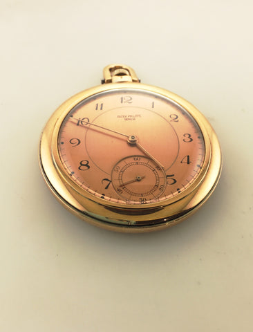 1940s Vintage Patek Philippe 18K Rose & White Gold Pocket Watch with Salmon Dial - $20K VALUE